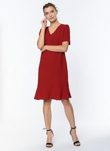 Optique V Yaka Kısa Kollu Elbise Bordo